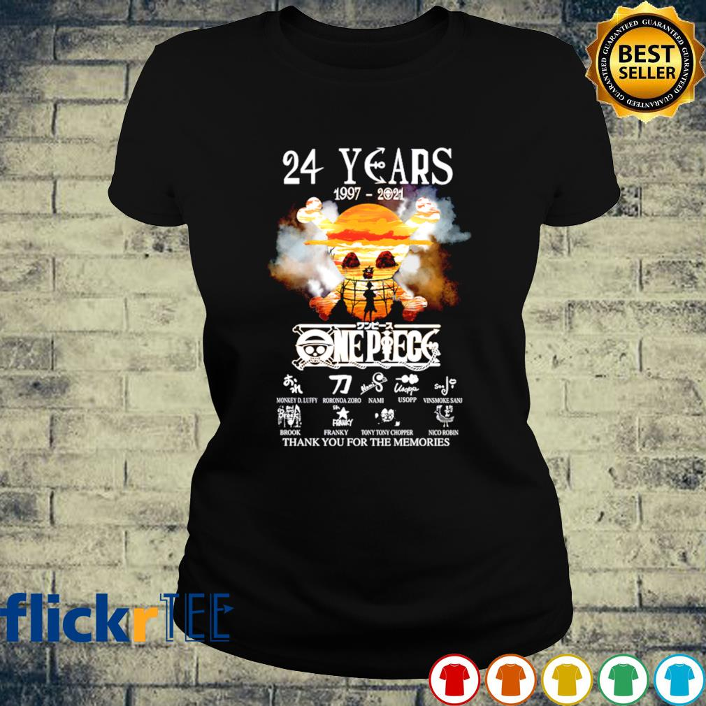 24 years of One Piece 1997 2021 thank you for the memories s ladies-tee