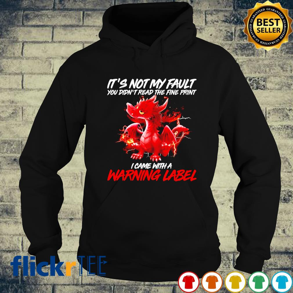 Dragon it's not my fault you didn't read the fine print I came with a warning label s hoodie