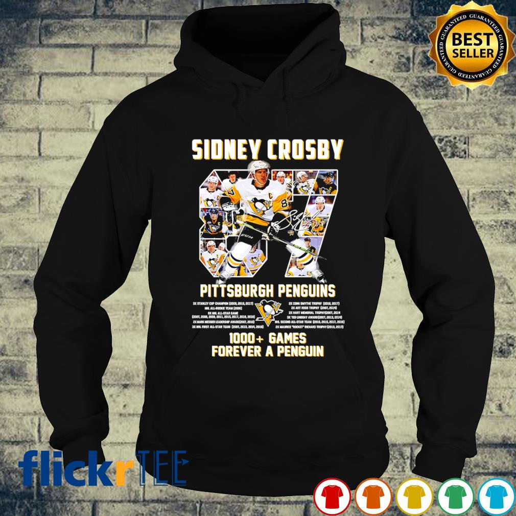 Sidney Crosby Pittsburgh Penguins 1000 games forever a Penguin s hoodie