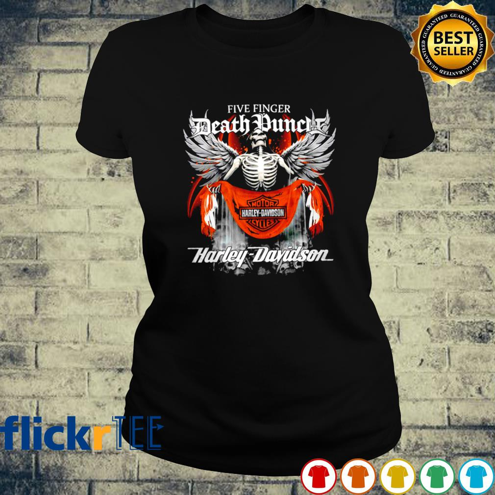 Skeleton Five Finger Death Punch Harley Davidson s ladies-tee