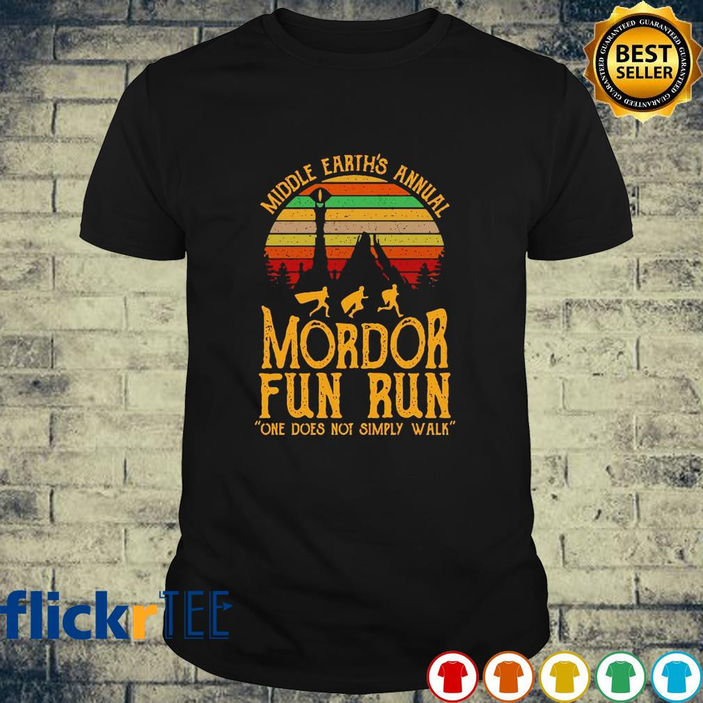 Middle earth's annual Mordor fun run one does not simply walk lord of the rings vintage shirt
