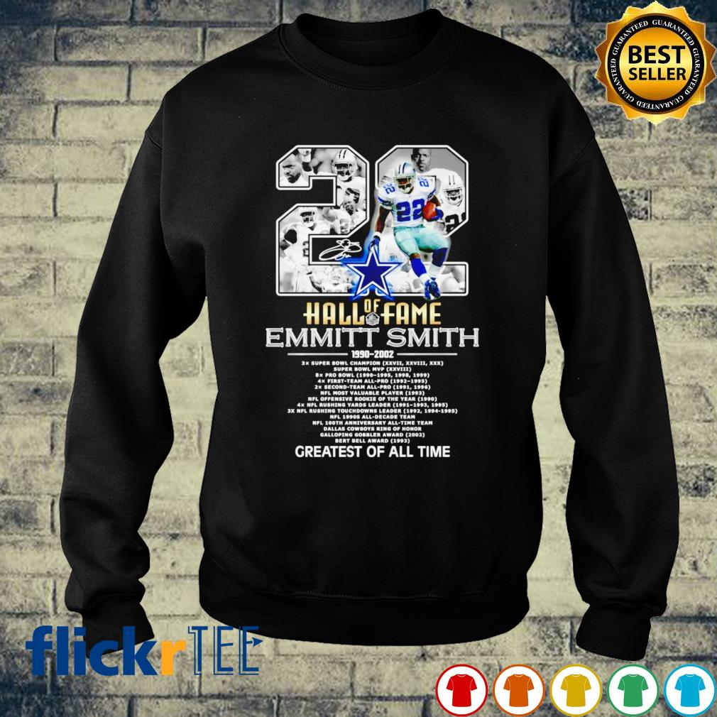 Hall of Fame 22 Emmitt Smith 1990 2002 greatest of all time s sweater