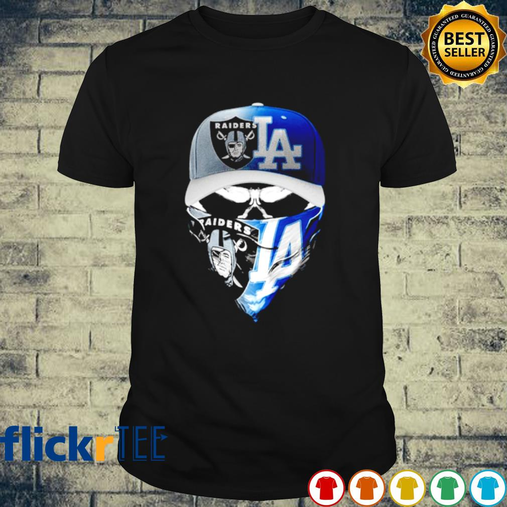 Oakland Raiders and Los Angeles Dodgers skull shirt