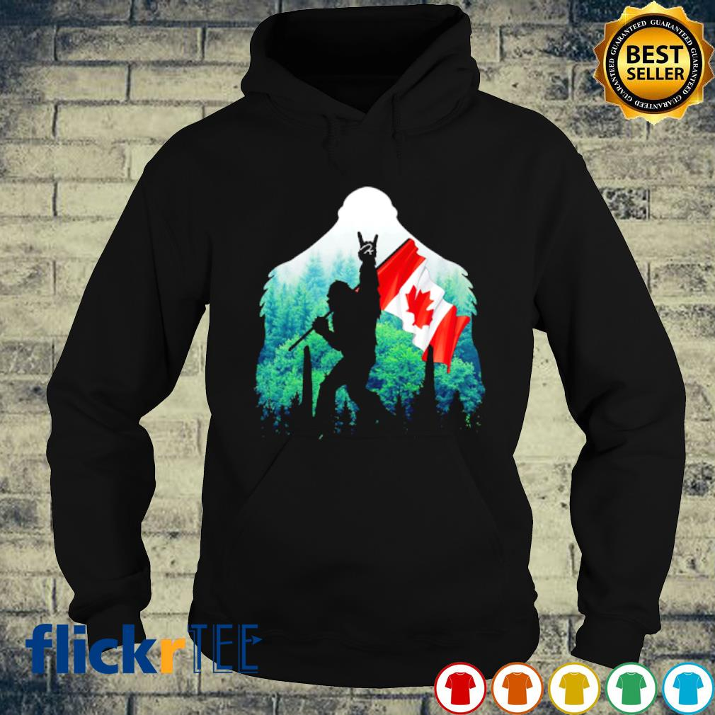 Bigfoot holding Canada flag Rock And Roll s hoodie