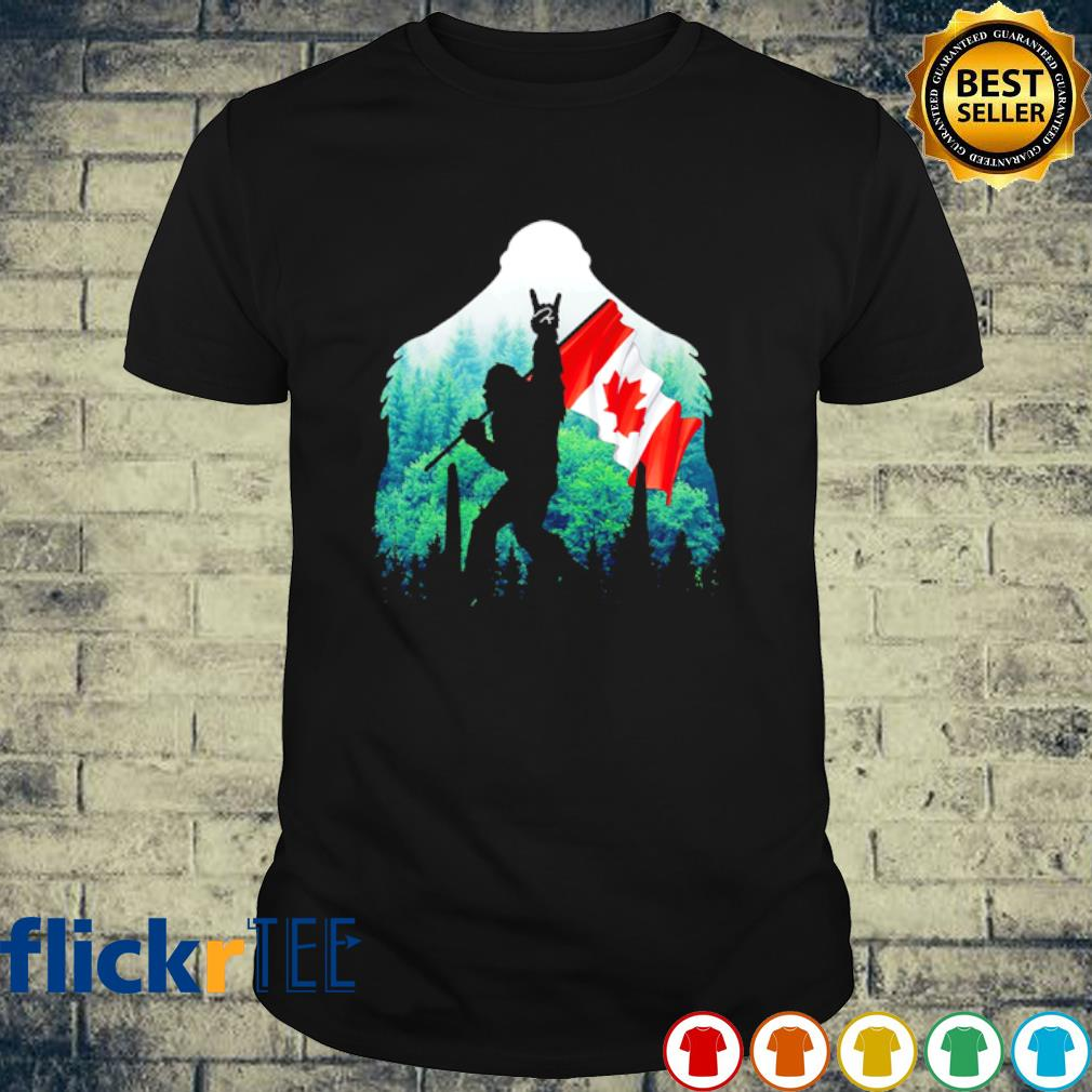 Bigfoot holding Canada flag Rock And Roll shirt