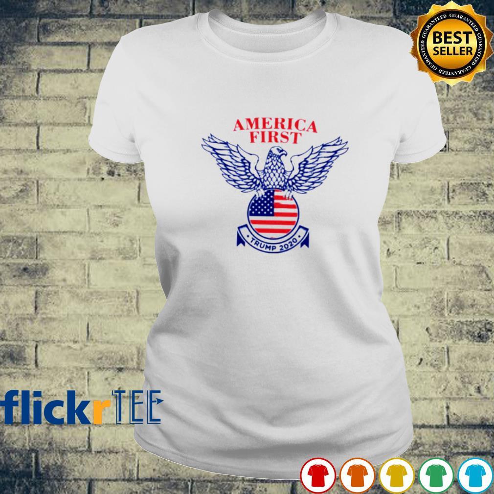 Eagle America First Trump 2020 American Flag Shirt ladies-tee