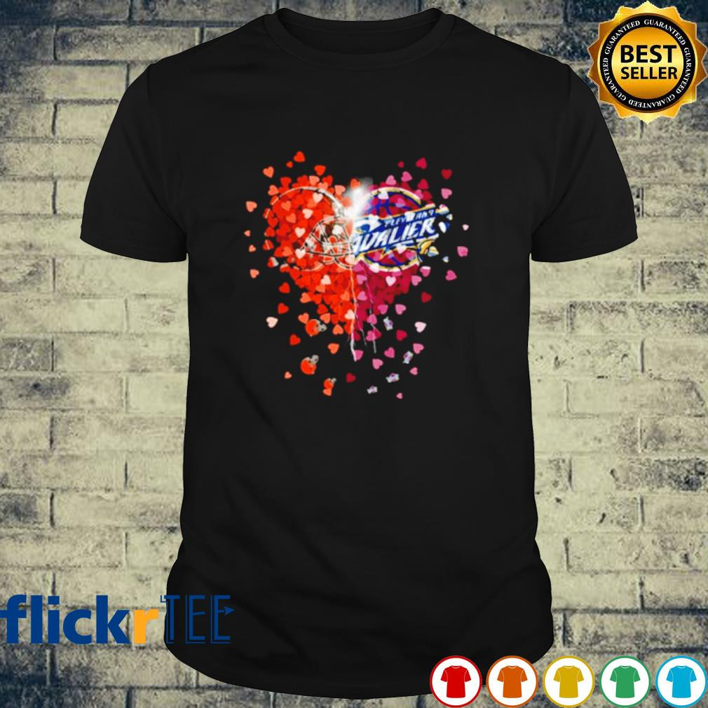 Heart Cleveland Browns and Cleveland Cavaliers love shirt