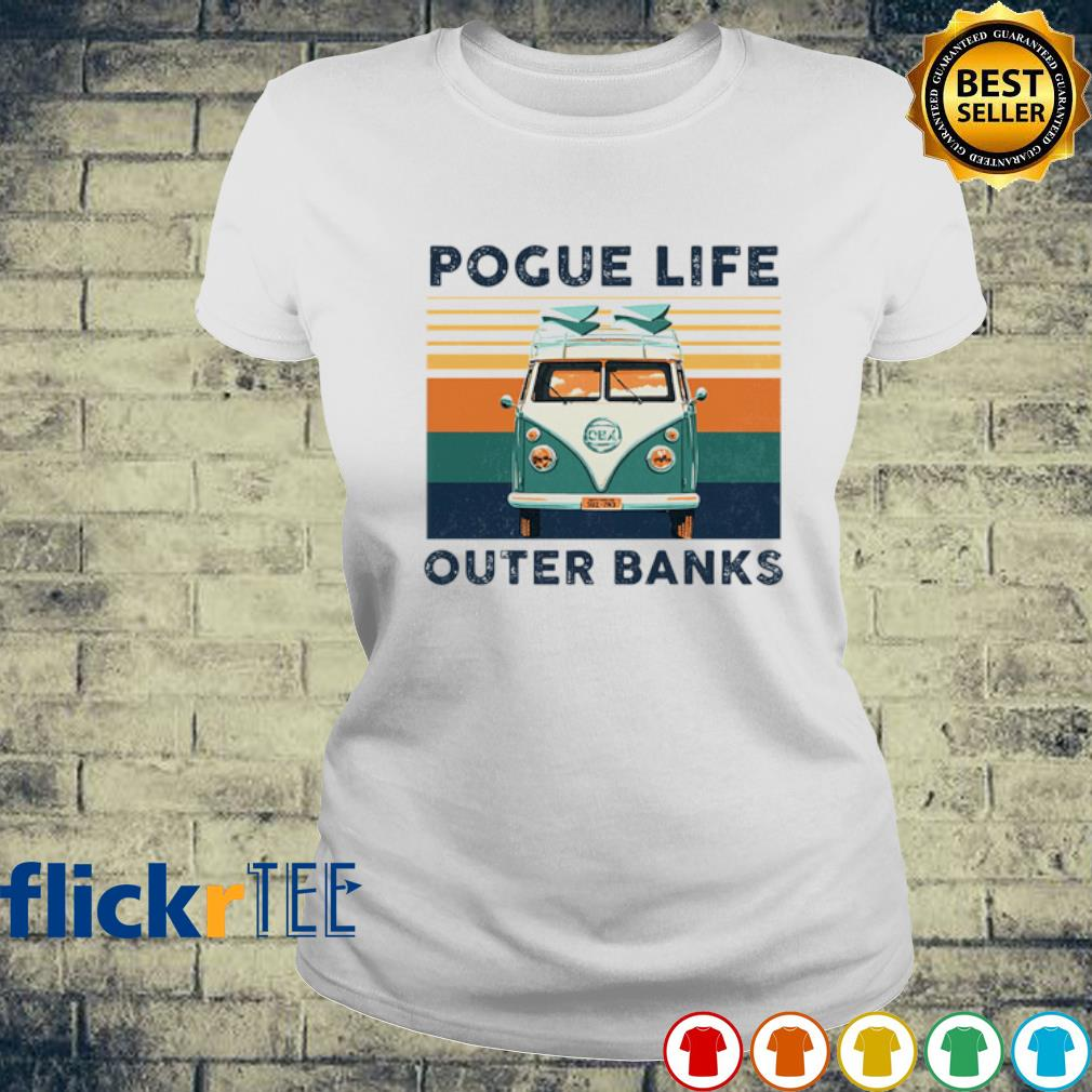 Hippie car pogue life outer banks vintage s ladies-tee