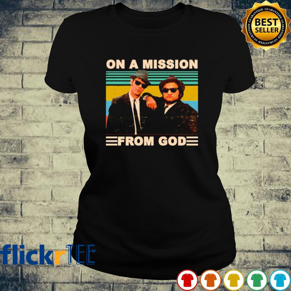 The Blues Brothers on a mission from God vintage s ladies-tee