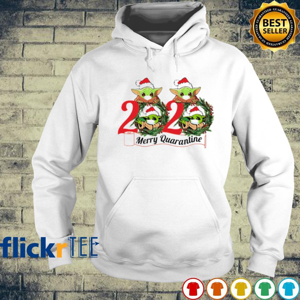 Baby Yoda face mask 2020 merry quarantine Christmas s hoodie