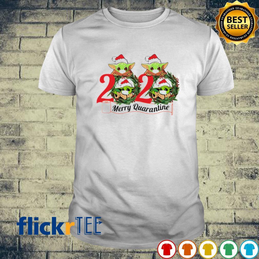 Baby Yoda face mask 2020 merry quarantine Christmas shirt