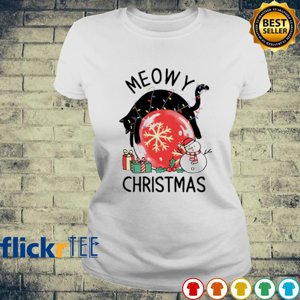 Cat meowy Christmas s ladies-tee