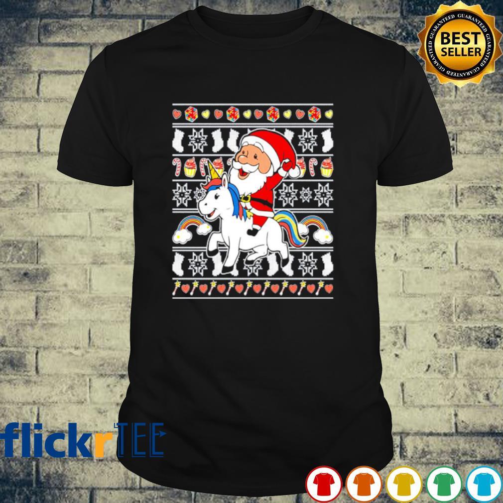 Santa riding LGBT unicorn merry Christmas shirt