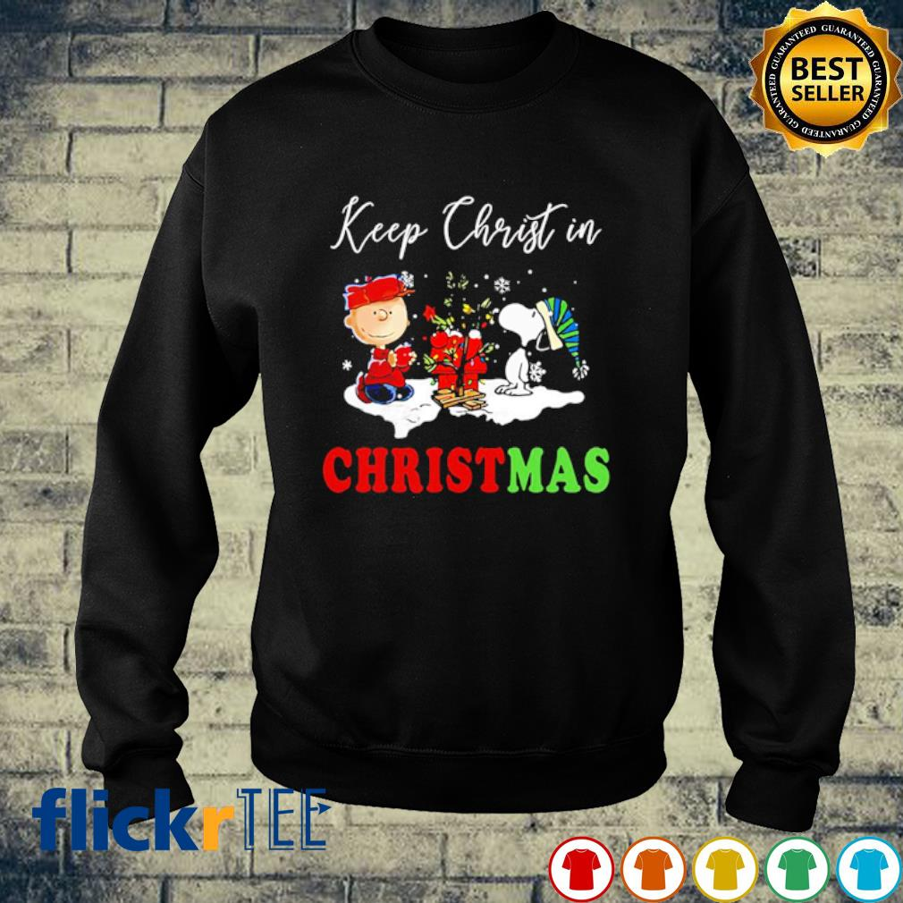 Snoopy and Charlie keep christ in Christmas s sweater