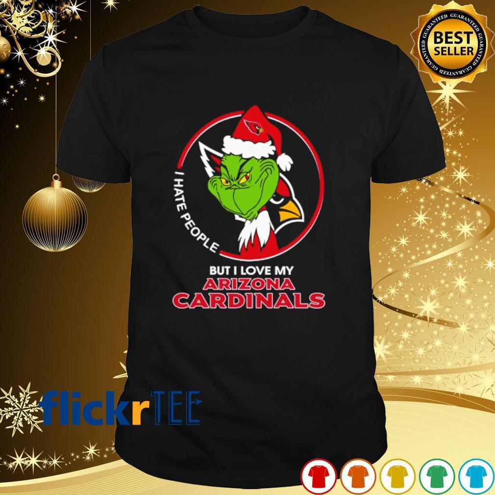 Grinch I hate people but I love my Arizona Cardinals Christmas shirt