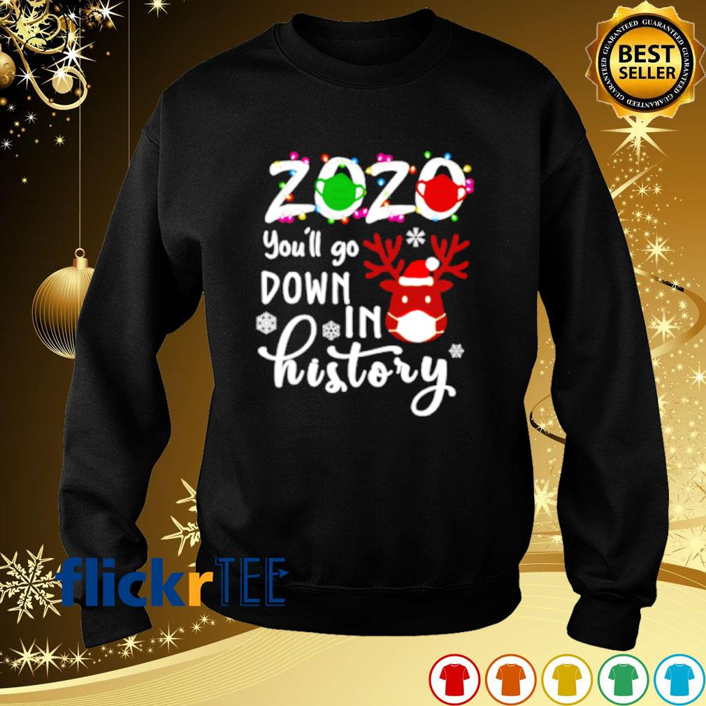 Reindeer face mask 2020 you'll go down in history s sweater