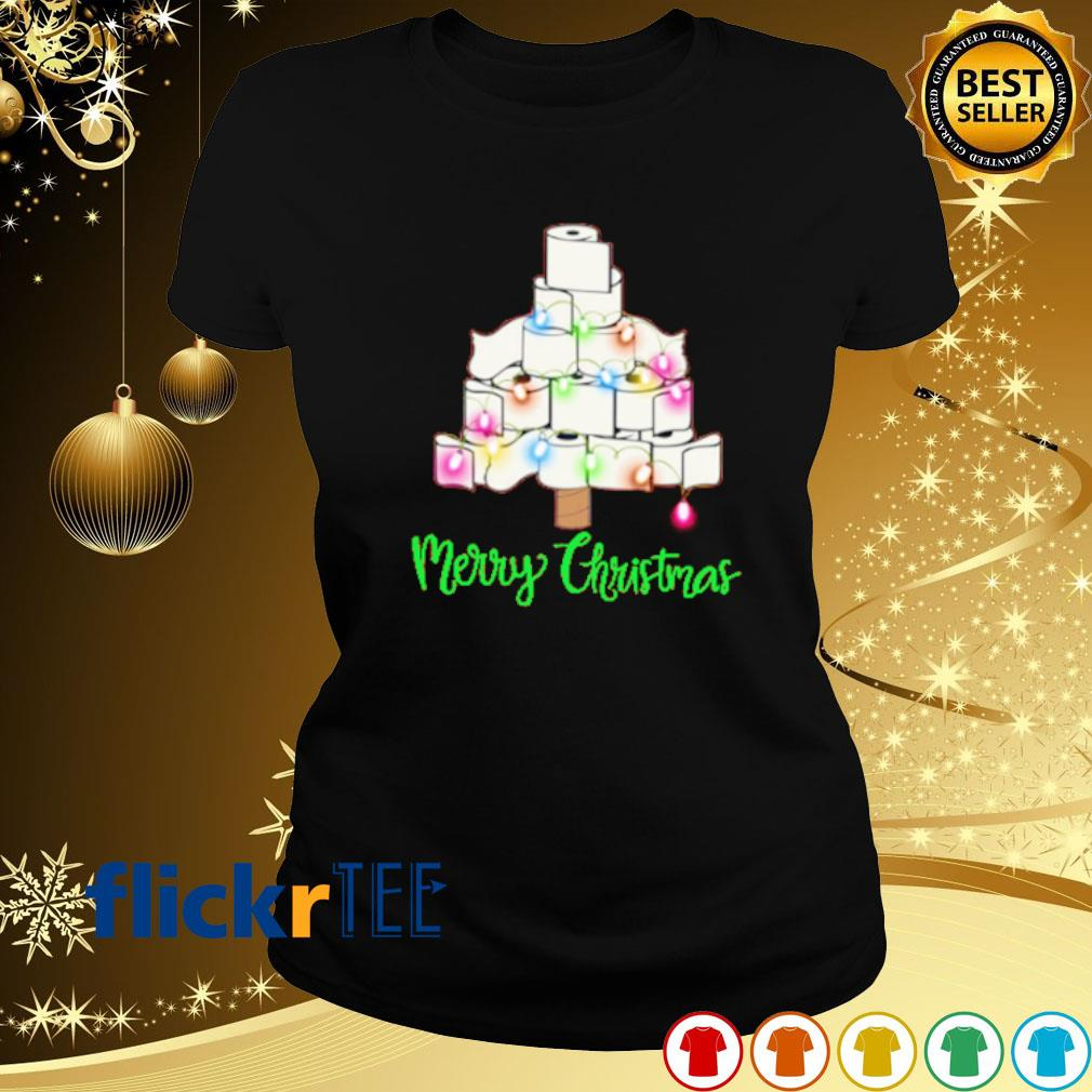 Tolet paper as Christmas tree merry Christmas s ladies-tee