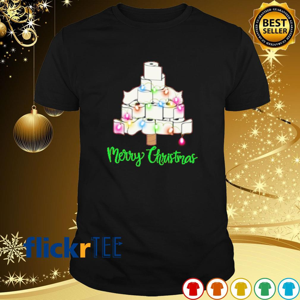 Tolet paper as Christmas tree merry Christmas shirt