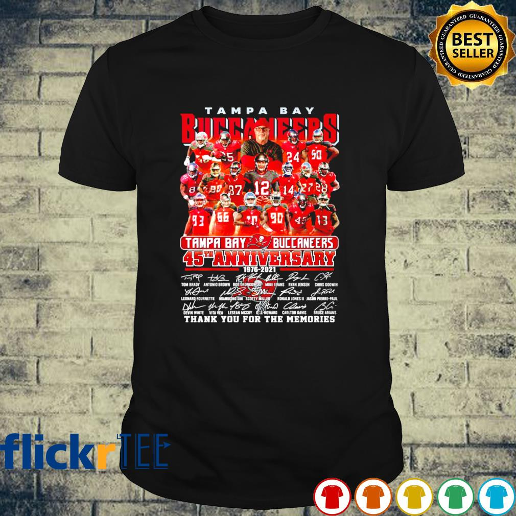 45 years of Tampa Bay Buccaneers 1976 2021 thank you for the memories shirt