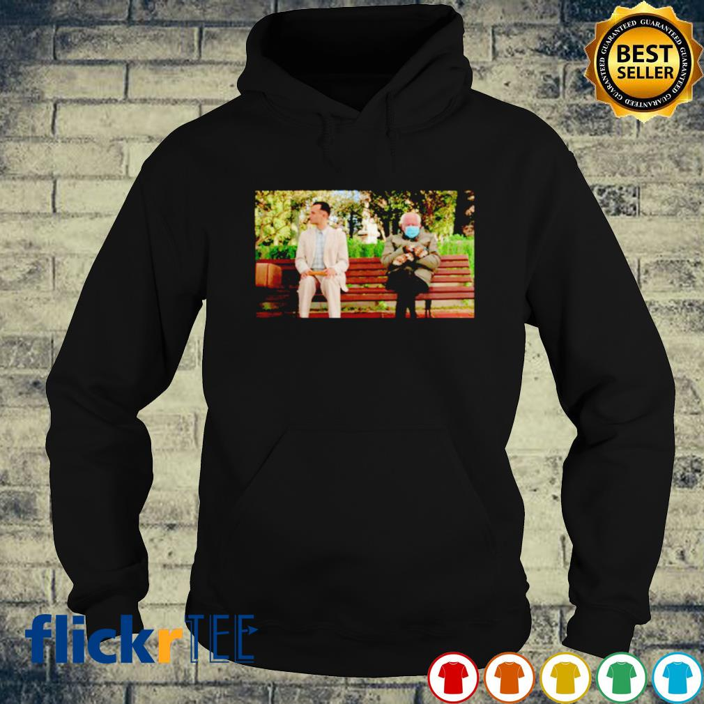 Bernie Sanders and Forest Gump sitting s hoodie
